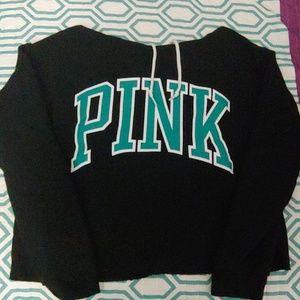 Black cropped hoodie from PINK